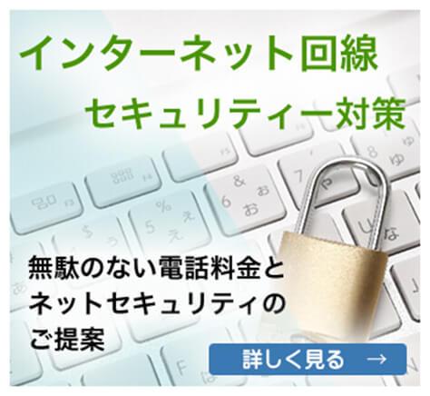 インターネット回線・セキュリティ対策、無駄のない電話料金とネットセキュリティのご提案。詳しく見る→