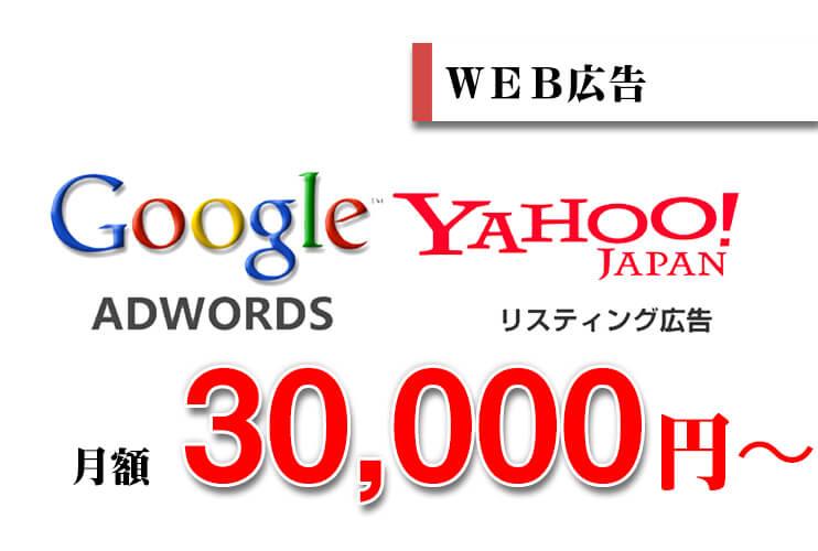 WEB広告、googleアドワーズ、yahooリスニング広告、月額30,000円〜